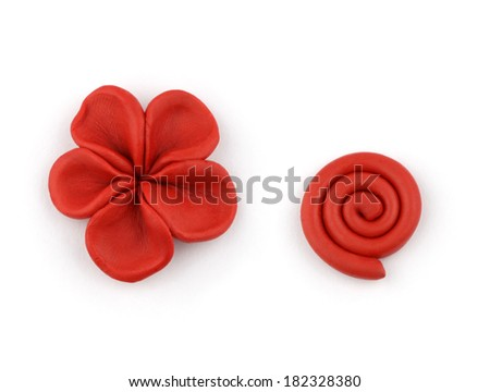 Plasticine floral elements isolated on a white background. - stock photo