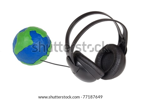 Plasticine Globe and headphones on a white background