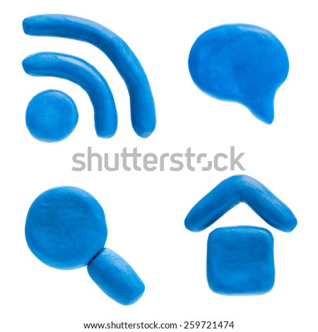 Plasticine icon set. Home icon, searching lens, rss news and speach dialog. - stock photo