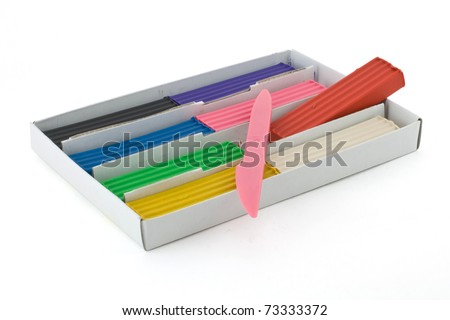 plasticine in a box isolated on white background