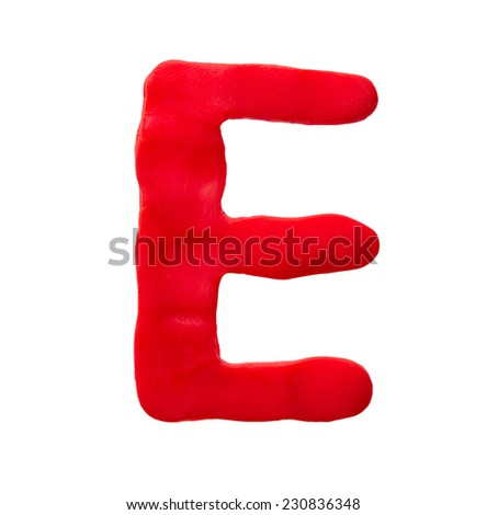 Plasticine letter E isolated on a white background  - stock photo