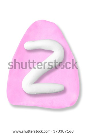Plasticine letter Z on plasticine triangle background on isolated on a white background - stock photo