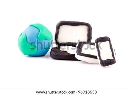 Plasticine of  Digital family - pad, phone, computer - stock photo