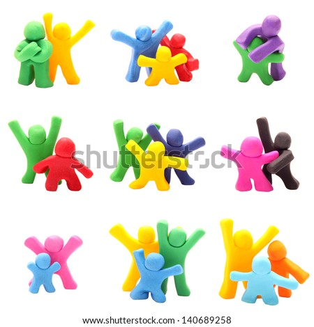 plasticine people set - 9 trios and couples interacting - stock photo