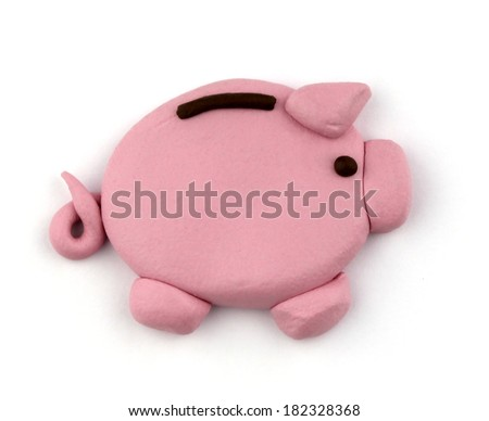 Plasticine piggy bank  isolated on a white background.