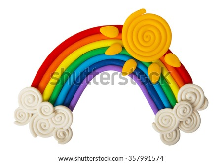Plasticine rainbow isolated on white background