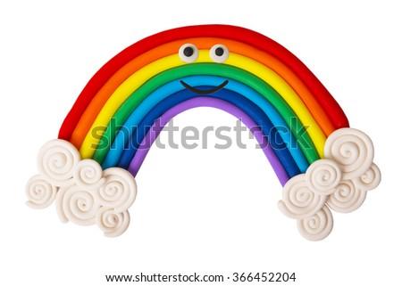 Plasticine rainbow isolated on white background - stock photo