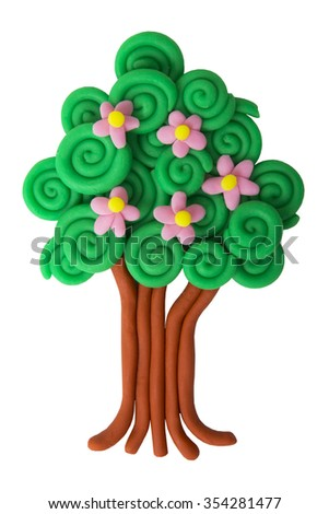 plasticine spring tree isolated on white background
