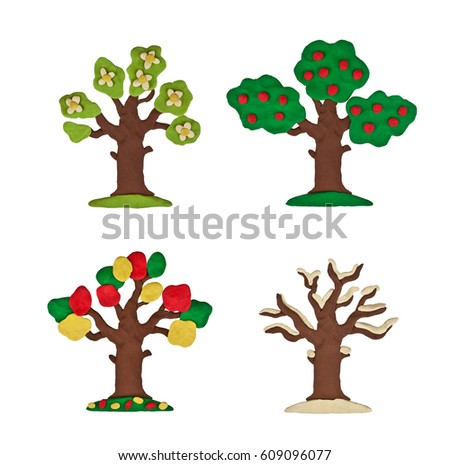 Plasticine tree four seasons isolated on a white background stock photo