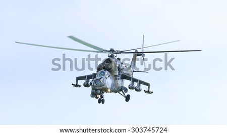 "PLASY, CZECH REPUBLIC- APRIL 27, 2013 : The Airshow ""The Day on Air"" presents the Czech Army Fighter- Helicopter MI24V Hind"