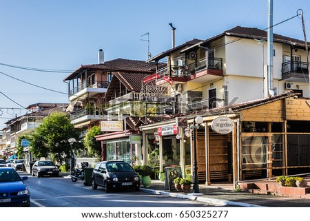PLATAMON, GREECE - MAY 13, 2016: Street view in Platamon. Platamonas (Greek) is a sea-side resort and fishermans village in south Pireia, Central Macedonia.