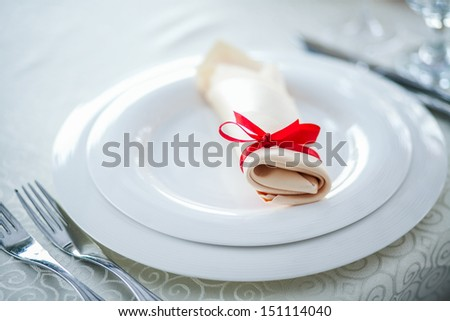 plate and napkin - stock photo