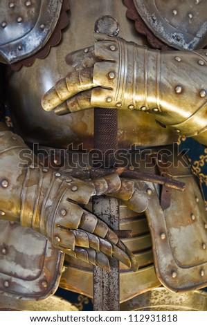 Plate armour. Albornoz fortress. Narni. Umbria. Italy. - stock photo