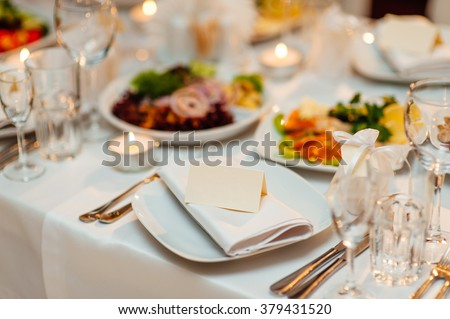 Plate at the wedding table - stock photo