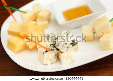 plate cheese - stock photo