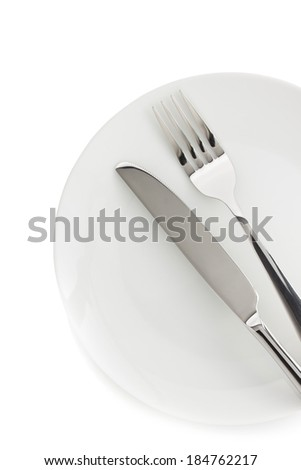plate, knife and fork isolated on white background