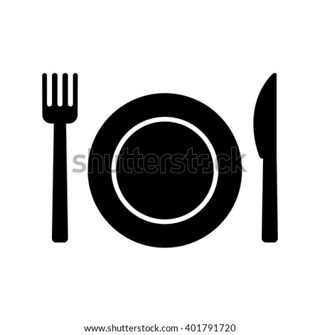 Plate Knife Fork icon. Food silhouette sign. Restaurant or cafe symbol.  Illustration - stock photo