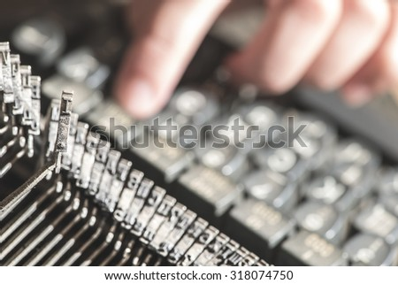 Plate letter I on a typewriter. Close up - stock photo