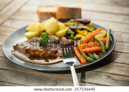 Plate of beef steak  - stock photo