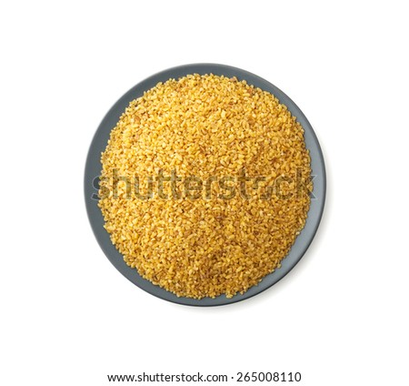 Plate of bulgur , clipping path , isolated on white background - stock photo