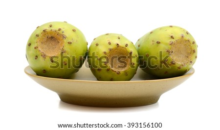 plate of cactus pears isolated on white