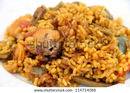 Plate of chicken and rabbit rice, Valencian paella, Spain
