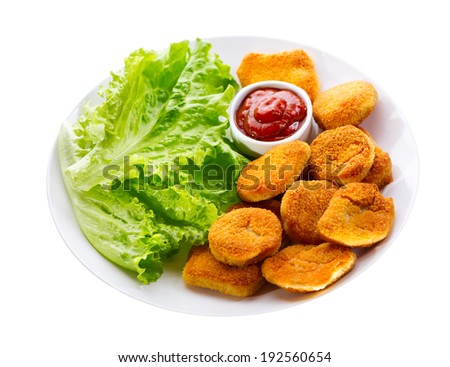 plate of chicken nuggets isolated on white background - stock photo
