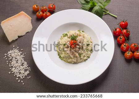 Plate of chicken risotto with parmesan on the table with ingredients - stock photo