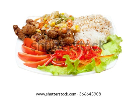 plate of chinese rice with roasted meat and vegetables - stock photo