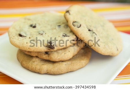 Plate of chocolate chip cookies on a bright background - stock photo