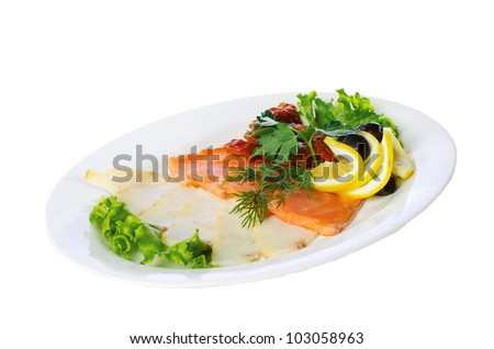 Plate of cold various sliced smoked fish