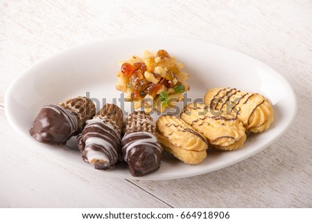 Wonderful Biscuit Eid Al-Fitr Food - stock-photo-plate-of-cookies-for-eid-el-fitr-on-a-white-wooden-table-islamic-feast-664918906  Gallery_853047 .jpg