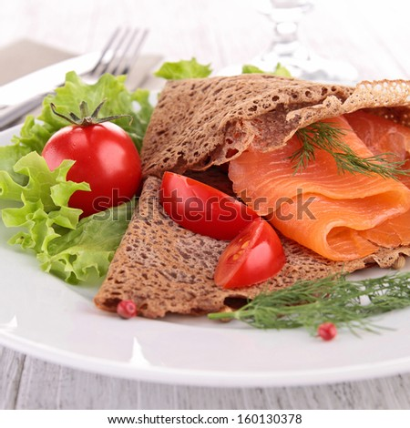 plate of crepe with salmon
