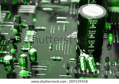Plate of electronic components - stock photo