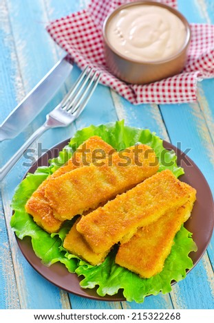 Plate of fish fingers