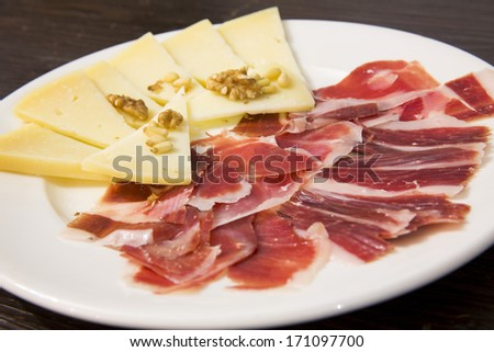 Plate of food. Spanish food. - stock photo