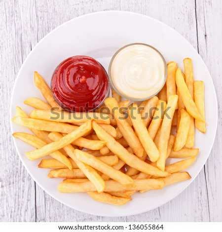 plate of french fries - stock photo