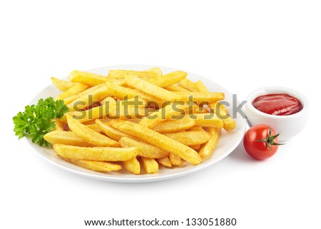 Plate of French fries with a bowl of ketchup on white - stock photo