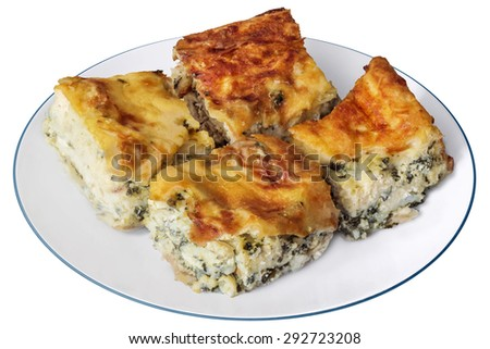 Plate of Freshly baked Serbian Traditional Zeljanica Spinach-cheese Pie slices, Isolated on White Background. - stock photo