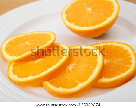 Plate of juicy and delicious sliced navel orange - stock photo
