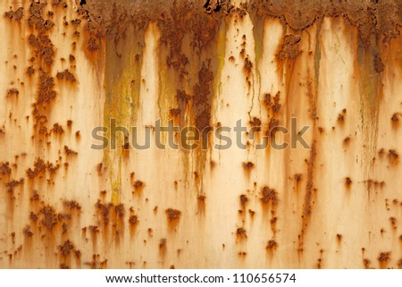 Plate of metal rusty on all background, with old layers of a pai - stock photo