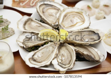 Plate of oysters from Cancale - stock photo