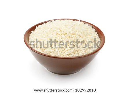 plate of rice isolated on a white background - stock photo