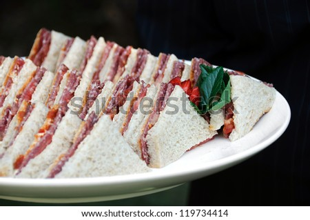 Plate of sandwiches for afternoon tea - stock photo