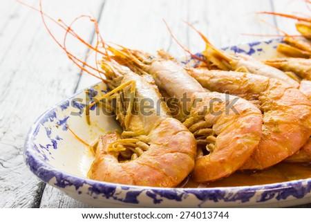 Plate of Shrimp - stock photo