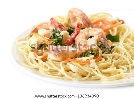 Plate of spaghetti with seafood - stock photo