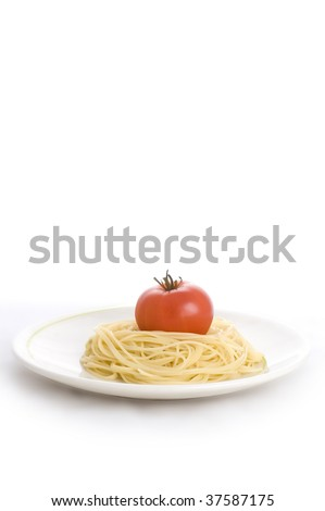 plate of spaghetti with tomato isolated on the white