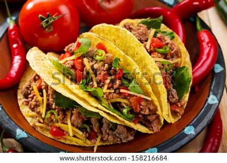 plate of tacos on wooden table - stock photo
