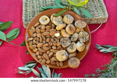 Plate of typical dry fruits of majorca - stock photo