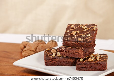 Plate of walnut turtle brownies with room for copy